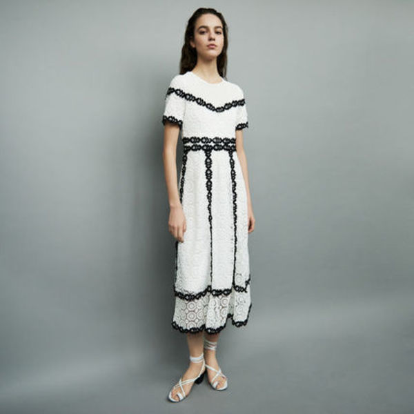 maje(マージュ) LONG DRESS IN BICOLORED LACE