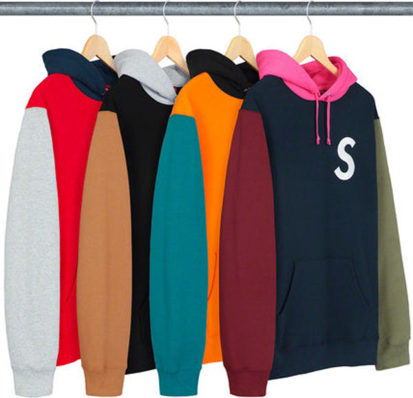 ★Supreme★SS19 Week2★S Logo Colorblocked Hooded Sweatshirt