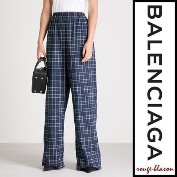 【国内発送】Balenciaga パンツ Checked wide-leg cotton