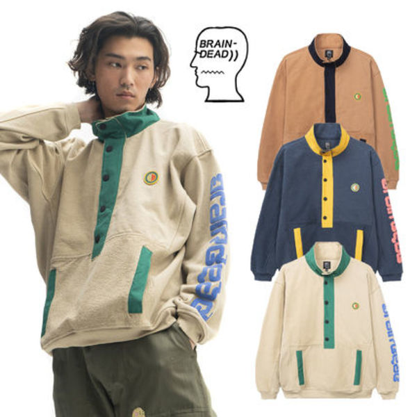 【Brain Dead】GLOBAL WORKS SNAP MOCK NECK PULLOVER