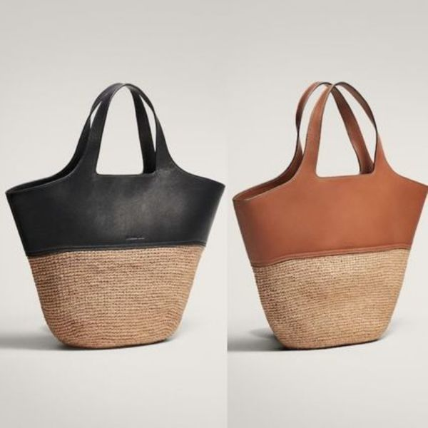 【Massimo Dutti】新作 CONTRAST LEATHER RAFFIA BASKET BAG
