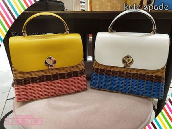 kate spade romy wicker medium top handle★素敵なかごバック
