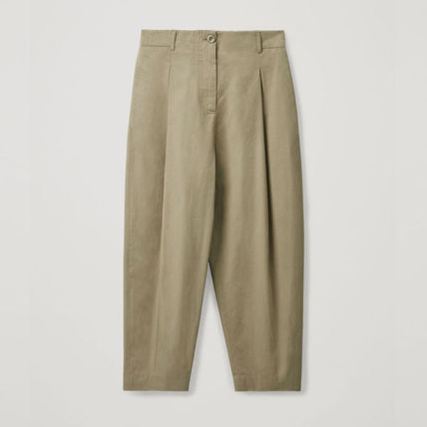 COS ROUNDED COTTON TROUSERS カーキグリーン