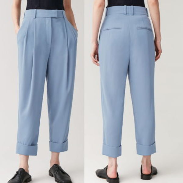 """COS"" DROPPED CROTCH TROUSERS WITH PLEATS BLUE"