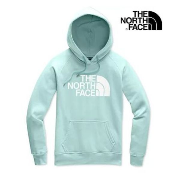 Sale!【The North Face】ロゴ&文字入フード付きパーカー(水色系)