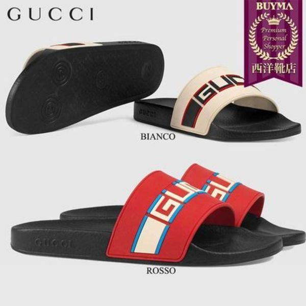 【正規品保証】GUCCI★18秋冬★STRIPE RUBBER SLIDE SANDAL