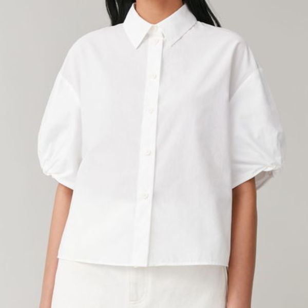 """COS"" PUFF SLEEVE BOXY COTTON SHIRT WHITE"