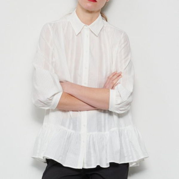"""RESERVED"" OVERSIZED BLOUSE WITH FRILL HEM WHITE"