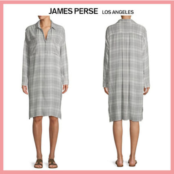 ☆送料関税込☆JAMES PERSE Plaid-Print Long-Sleeve Shirtdress