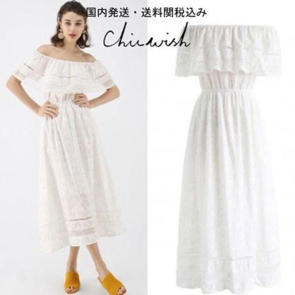 送関税込☆Chicwish☆Boho Off-Shoulder Embroidered Midi Dress
