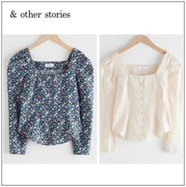【& Other Stories】Square Neck Button Upブラウス