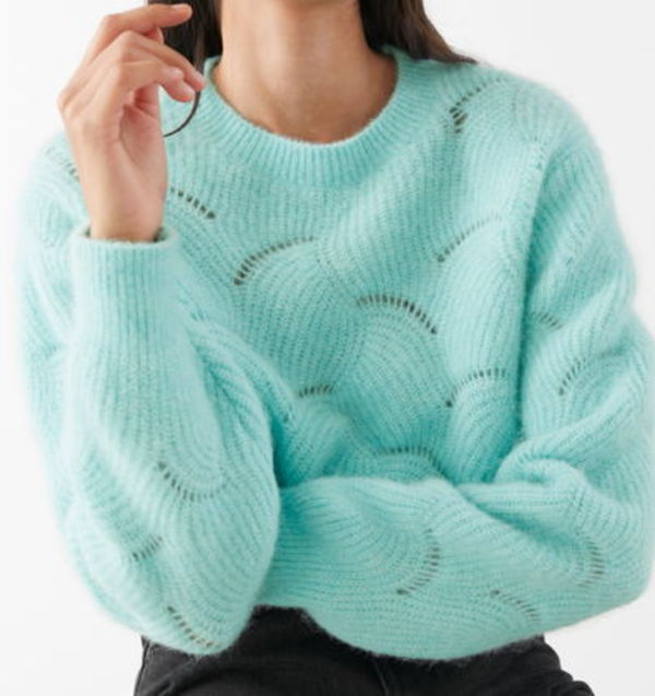 """& Other Stories""Wave Knitted Wool Blend Sweater Turquoise"