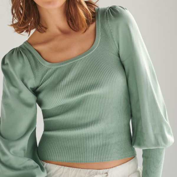 """RESERVED"" SQUARE NECK RIBBED KNIT TOP GREEN"