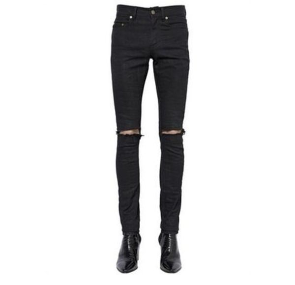 -Saint Laurent- Black Skinny Ripped Jeans