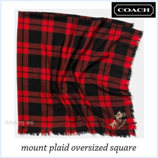 大判 チェック柄 スカーフ COACH mount plaid oversized square