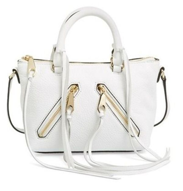 送料込 Rebecca Minkoff 'Micro Moto' Leather Satchel White