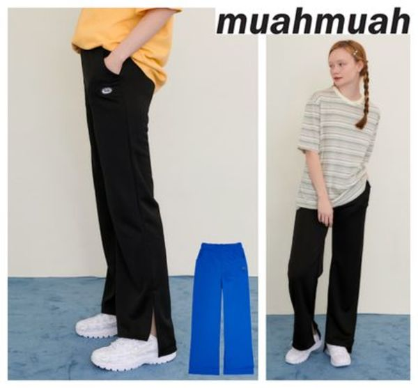 【muahmuah】20新作 signiture wappenn slit pants 2colors