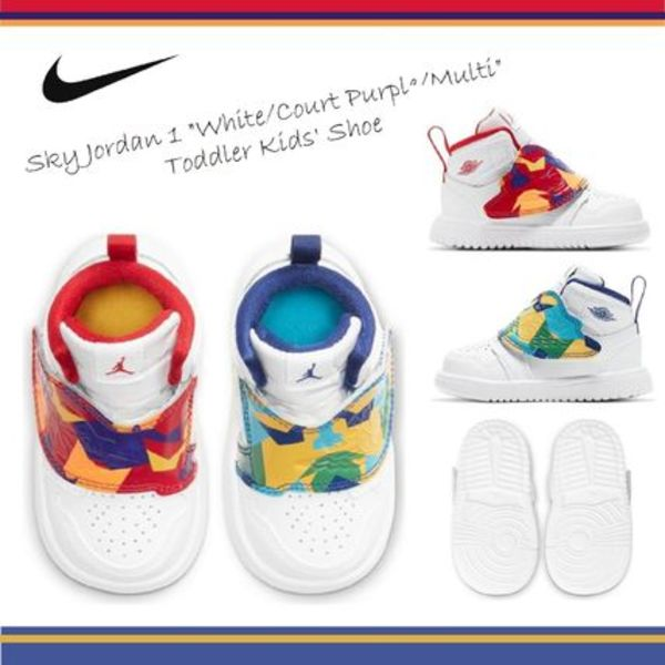 Nike☆ベビー☆Sky Jordan 1 White Court Purple Multi☆送料込