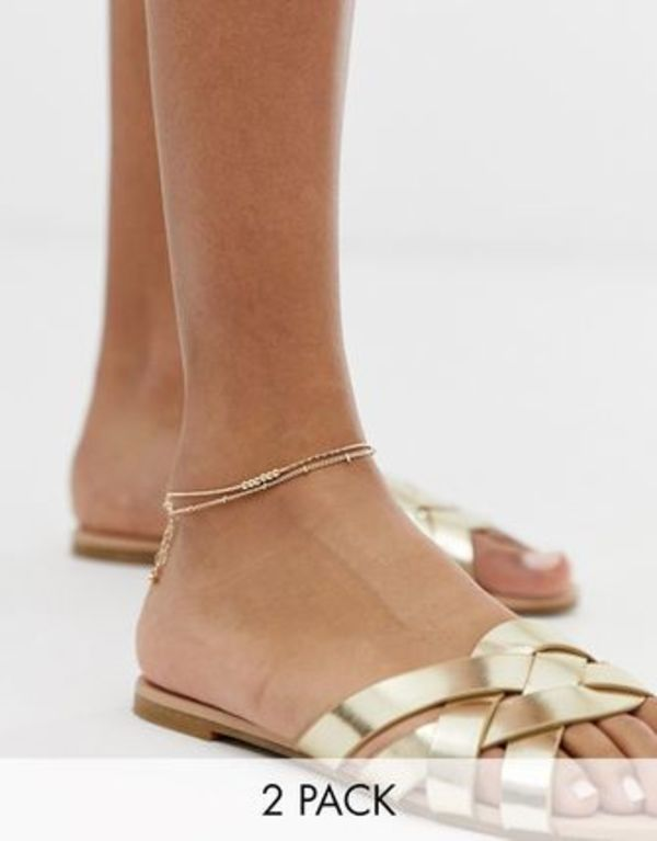 ASOS DESIGN pack of 2 fine ball charm anklets in gold tone