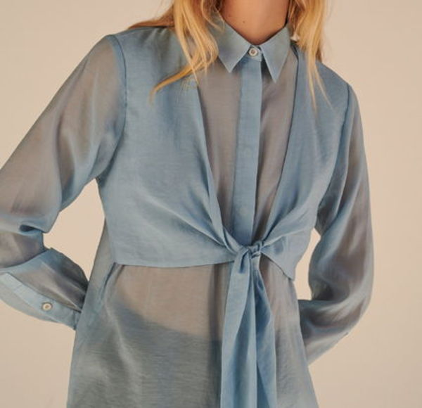 """RESERVED"" LAYERED SHEER SHIRT LIGHTBLUE"