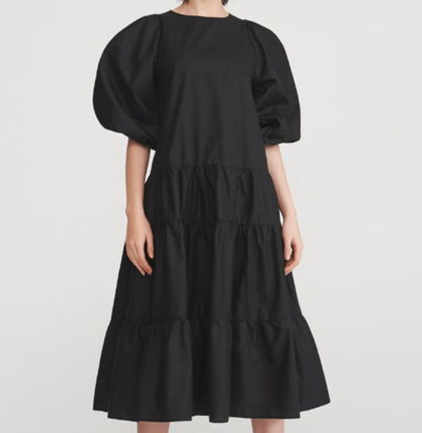 """RESERVED"" BIG SLEEVE COTTON DRESS BLACK"
