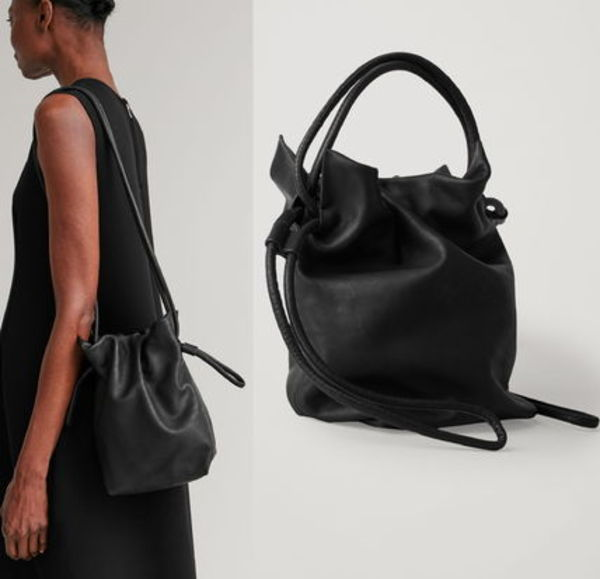"""COS"" DRAWSTRING LEATHER BAG BLACK"