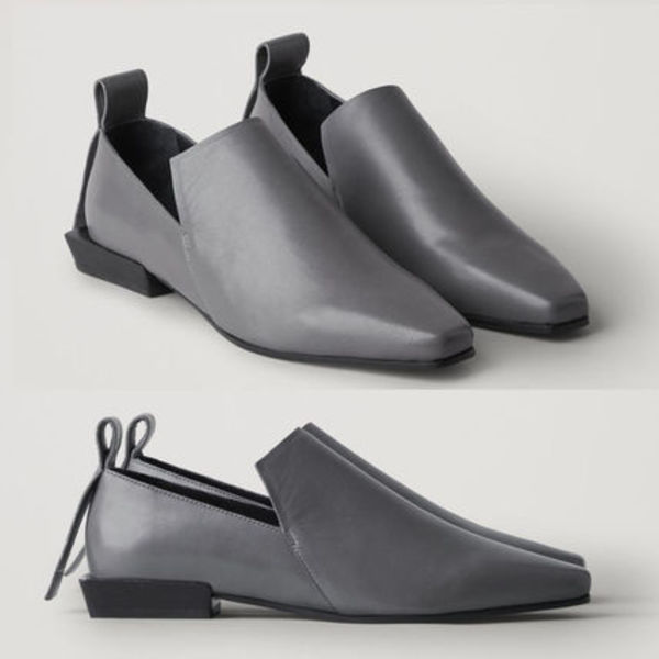 COS POINTED LEATHER LOAFERS グレー