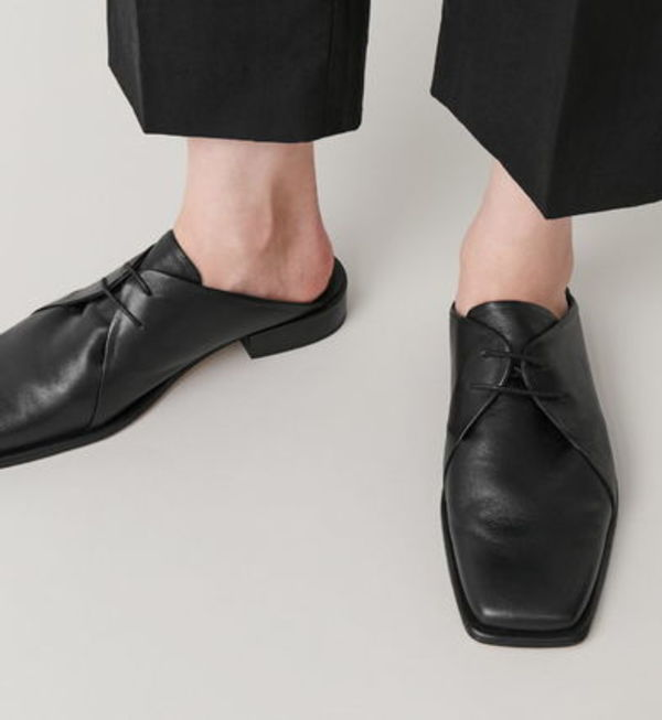 """COS"" LEATHER LACE-UP MULES BLACK"