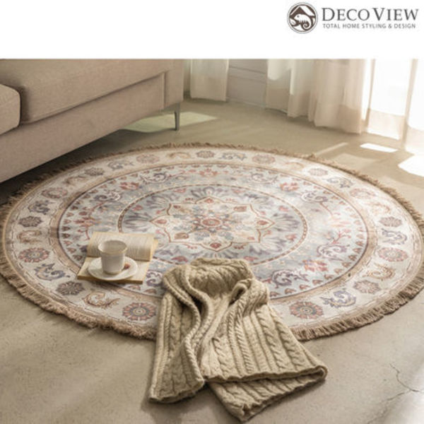 DECO VIEW★Mint Garlic Persian Drawing Circle Rug - 150R