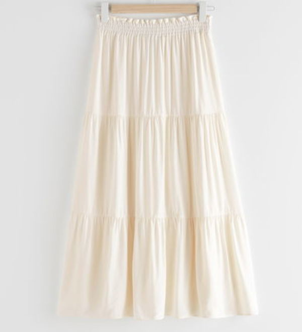 """& Other Stories"" Smocked Waist Tiered Midi Skirt White"