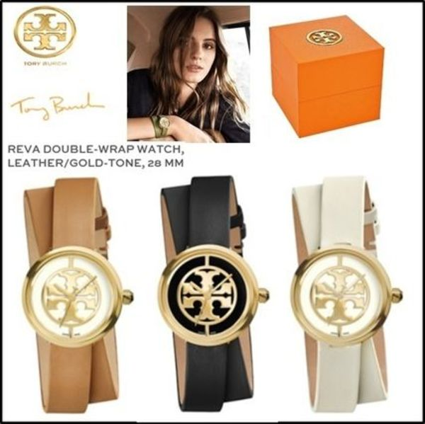 【TORY BURCH】上品!Reva Double-Wrap Watch Leather 28 mm 3色
