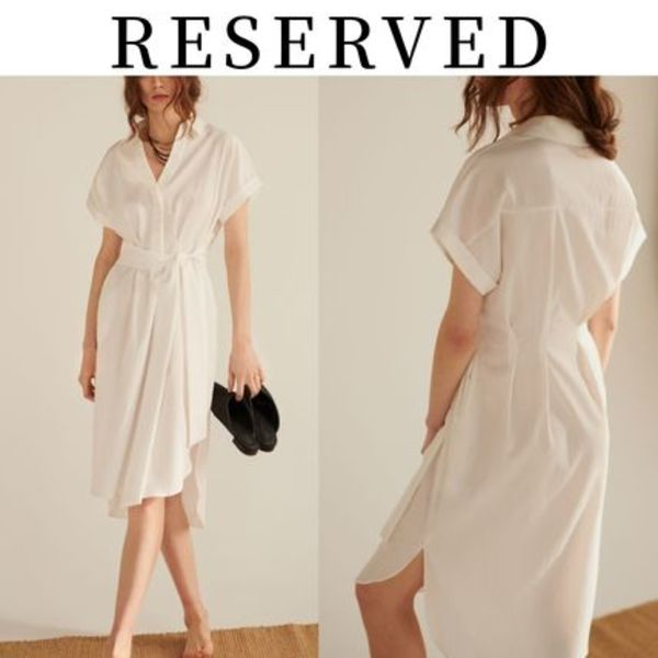 【RESERVED(リザーブド) 】Dress with collar シャツワンピース