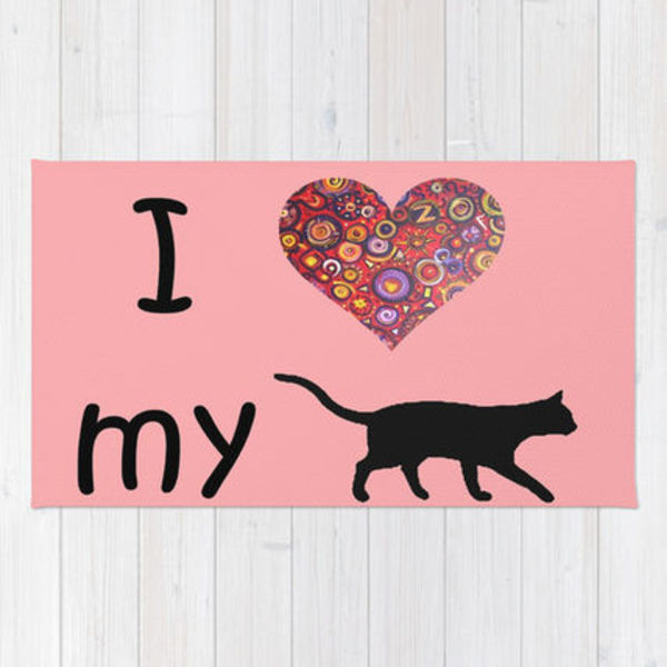 Society6◆洗えるラグマット◆I Heart My Cat by Gretzky