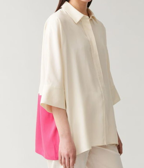 """""""COS"""" WIDE COLOUR-BLOCK SHIRT OFFWHITE/PINK"""