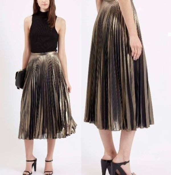 秋冬最新作★Metallic Pleated Midi Skirt