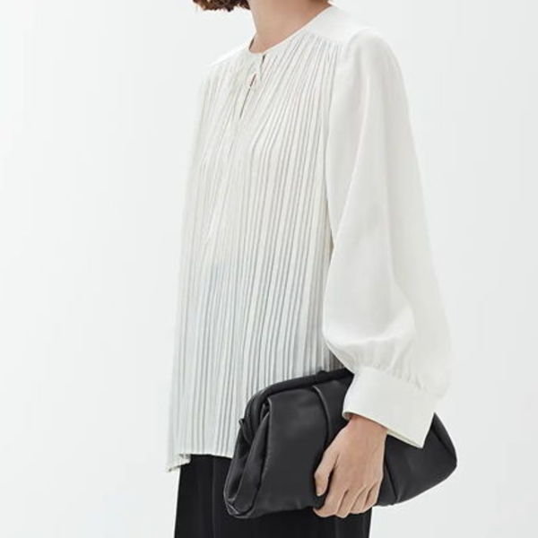 """""""ARKET"""" Pleated-Bodice Blouse OffWhite"""