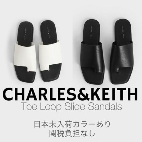 日本未入荷色有/送関込☆CHARLES&KEITH Toe Loop Slide Sandals
