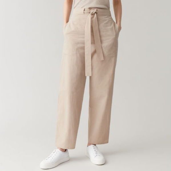 """""""COS"""" COTTON TROUSERS WITH WAIST TIE BEIGE"""