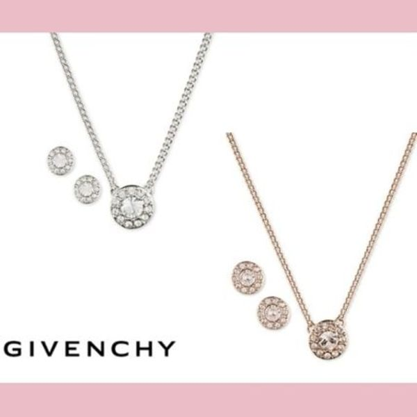 【GIVENCHY】送料込★スクエアパヴェのネックレス&ピアスセット