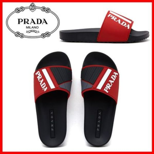 関税負担★人気★【PRADA】★RUBBER SLIPPERS★RED/BLACK★