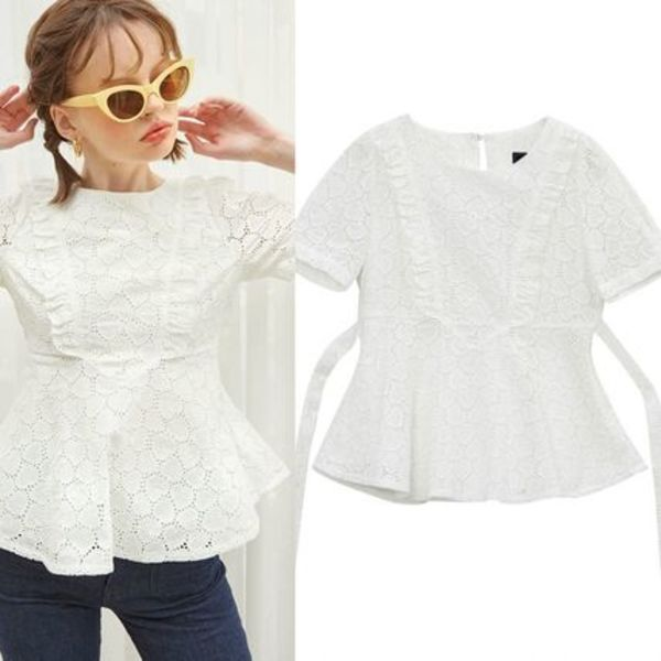 日本未入荷★Salon de Yohn★Lace Ruffle Blouse_ White