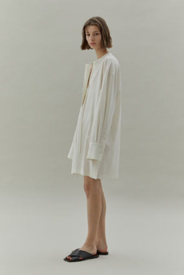 LOW CLASSIC ★20SS SHIRRING NECK DRESS (IVORY)★韓国ブランド