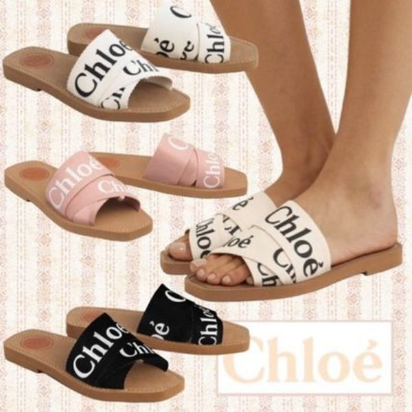 関税込 Chloe Woody canvas slides