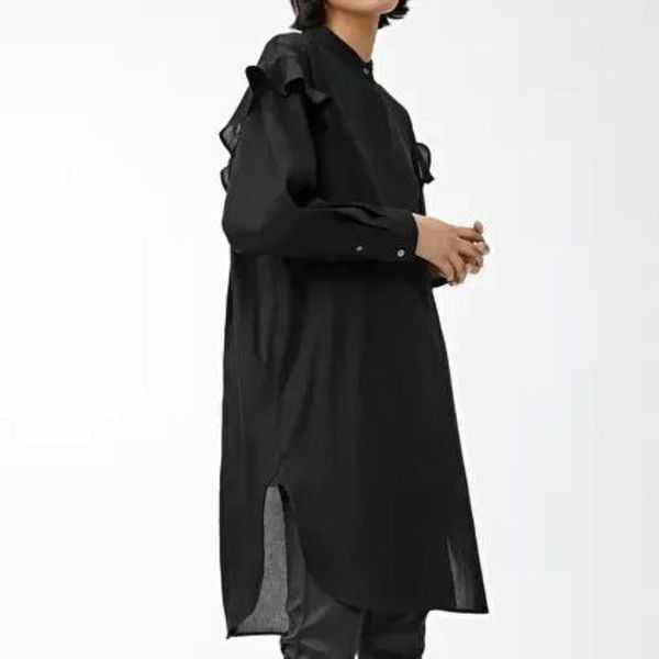 """ARKET"" Frill Shirt Dress Black"
