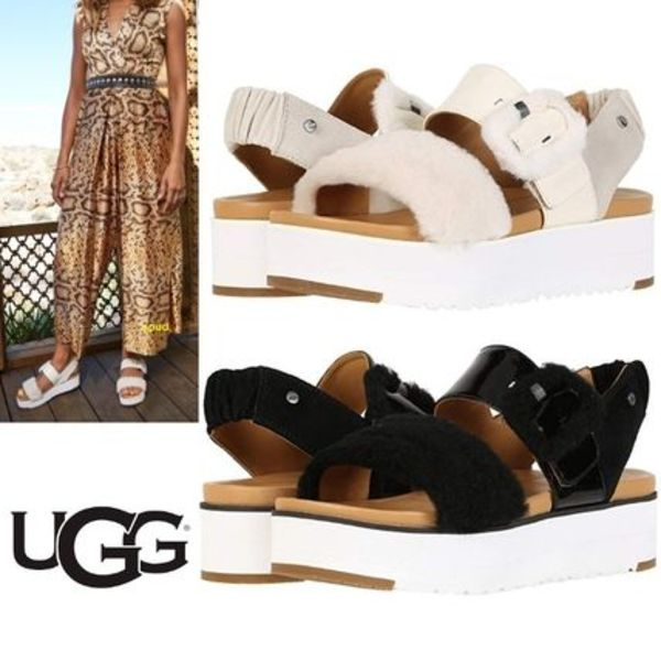 2020SS! UGG LE FLUFF ☆部分ファー厚底サンダル