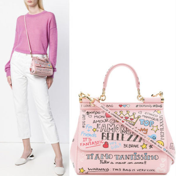 18-19AW DG1646 PRINTED SICILY BAG IN DAUPHINE LEATHER SMALL