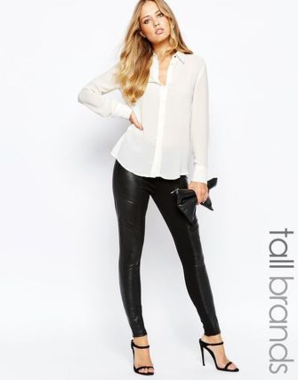 ☆ASOS☆本革使用☆Y.A.S Tall Asky Comb Leather Leggings☆