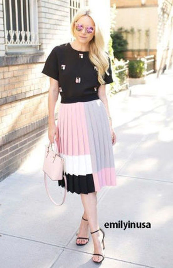 サイズ2★kate spade colorblock pleated skirt*sasha Obama愛用