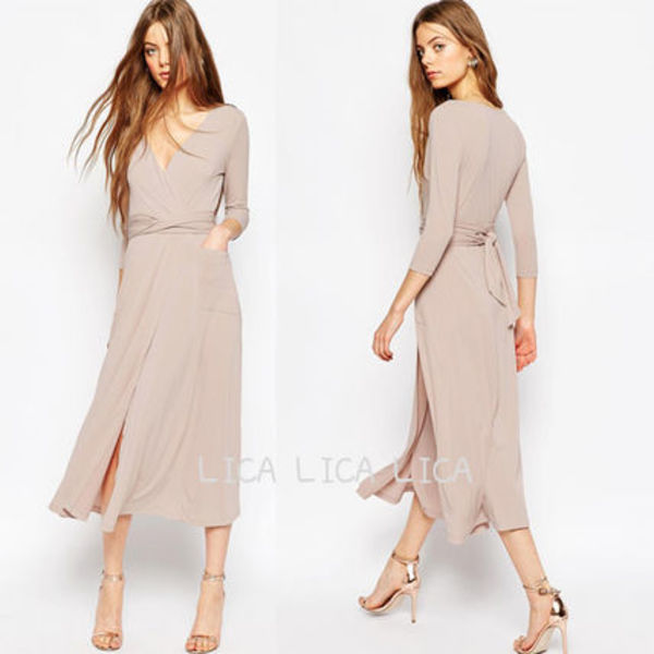送料無料・国内発送ASOS Wrap Maxi Dress in Crepe