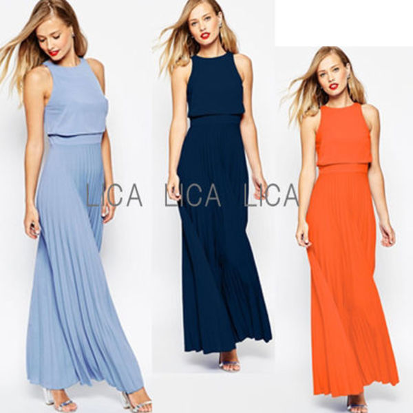 送料無料・国内発送ASOS Pleated Crop Top Maxi Dress